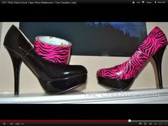 DIY: Pink Zebra Duck Tape Shoe Makeover | The Creative Lady