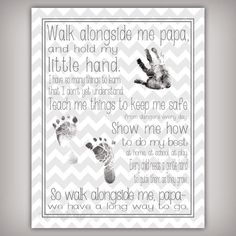 "Walk with Me, Papa - 11x14 Art Print - Personalize with your child's hand and foot prints - Father's Day Gift for ""Papa"""