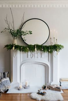 100 Indoor Minimalist Christmas Decorations » Lady Decluttered Christmas Fireplace, Fireplace Mantle, Christmas Candles, Fireplace Ideas, Merry Little Christmas, Simple Christmas, Christmas Home, Elegant Christmas, Christmas Door Decorations