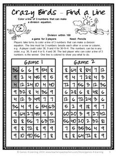 Division FREEBIE- NO PREP Games by Games 4 Learning - This set is 2 Division Games that review division skills dividing within 100.