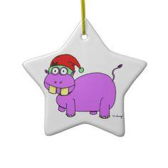 Xmas Hippo Star Ornament - Green i want a hippopotamus for Christmas {:-)