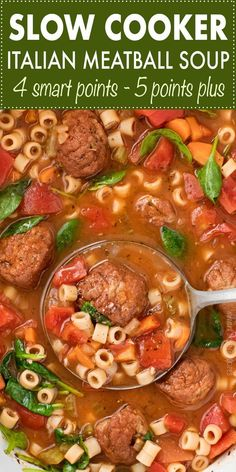 This Slow Cooker Italian Meatball Soup is hearty, easy, and incredibly satisfyin. This Slow Cooker Italian Meatball Soup is hearty, easy, and incredibly satisfying! You'll never guess it's only 4 smart points per serving. Crock Pot Recipes, Crock Pot Soup, Crock Pot Slow Cooker, Crock Pot Cooking, Slow Cooker Recipes, Cooking Recipes, Healthy Recipes, Skinny Recipes, Skinny Meals