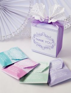 @Sara Lewis you should do this for your wedding    It wouldn't be hard to print up and wrap tea bags with your own little thank you favor...
