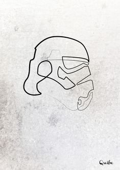 Minimalist Trooper -  French artist Christophe Louis, aka Quibe, created these beautiful One Line prints. Quibe used one continuous line that covers every crucial detail before gradually fading out