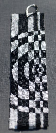 Op Art in Silver and Black ... Beadwoven Cuff . by time2cre8