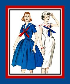 Vintage 1950s -PIN UP SAILOR Dress- Sewing Pattern -Two Styles-Middy Collar- Sexy Wiggle- Sweet Bouffant Style- Uncut -Size 14 -Rare by FarfallaDesignStudio on Etsy