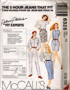 McCall's 6326 Womens Pants Jeans Shorts & Skirt Perfect Fit Palmer Pletsch 90s Sewing Pattern Size 12 UNCUT Factory Folds