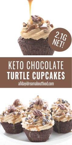 Delicious low carb chocolate cupcakes with a creamy sugar-free caramel frosting and toasted pecans. Fun to make and eat! Low Carb Deserts, Low Carb Sweets, Sugar Free Desserts, Dessert Recipes, Keto Desserts, Dinner Recipes, Dessert Bread, Keto Snacks, Sin Gluten