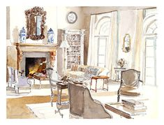 Bunny Williams design, painted in watercolor by Mita Corsini Bland