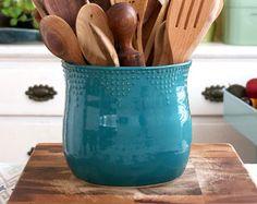 Extra grande cocina utensilio titular - 16 colores - verde, azul, blanco, rojo - mano produce vaso - moderna decoración - hecho por encargo