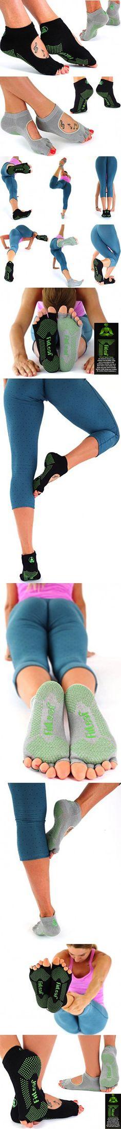 Fitleaf Yoga Bamboo Socks 2 Pairs Non Slip Grip For Pilates Barre