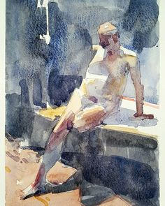 Little watercolor from the Gage open life drawing session. aaron coberly