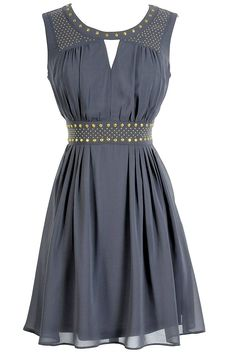 I adore this! Grey studded chiffon dress.