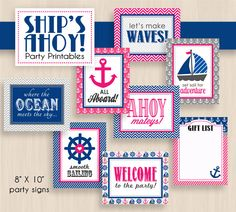 SHIP'S AHOY Nautical Baby Shower Printable Package in Pink and Navy. $25.00, via Etsy.