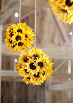 Idea concept for Stacie's wedding: sunflower kissing balls, Forever the Flower Girl (BookAmanda: Kissing balls or kissing bowers. Can be any flower type and hung using any ribbon.Artificial Sunflower Kissing Ball in Yellow - 718 Awesome Wedding Decor Sunflower Room, Sunflower Party, Fall Sunflower Weddings, Sunflower Wedding Centerpieces, Sunflower Decorations, Yellow Decorations, Decorating With Sunflowers, Wedding Ideas With Sunflowers, Yellow Wedding Decor