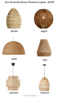 Our Favorite Woven Pendant Lights - greige design Lights Over Island, Island Pendant Lights, Kitchen Pendant Lighting, Kitchen Pendants, Beach House Lighting, Boho Lighting, Bedroom Lighting, Wicker Pendant Light, Greige