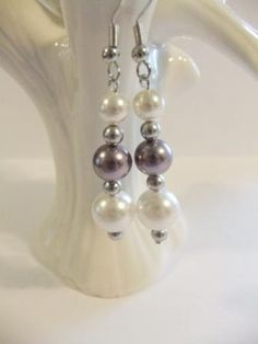 b69cff86ff9875 Purple Lavender White Swarovski Crystal Pearls Earrings Wedding Jewelry  Mauve Silver Bridesmaid Bridal