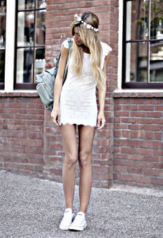 white dress with white converse