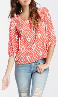 Peach Love Cream California 3/4 Length Sleeve Scoop Neck Tribal Blouse