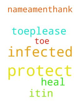 Dear God i have infected toe,please God protect it - Dear God i have infected toe,please God protect it and heal it,in Jesus name!Amen!Thank You  God! Posted at: https://prayerrequest.com/t/hVB #pray #prayer #request #prayerrequest