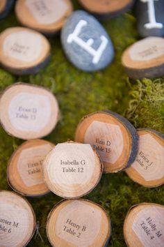 rustic wood escort card ideas.