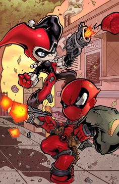 11x17 Deadpool and Harley Quinn partners in crime!!!!