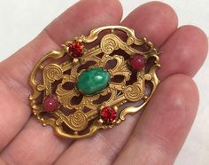 Vintage Brooch Antique Brass Art Nouveau Pin Unique Vintage Gifts Vintage Gifts, Etsy Vintage, Unique Vintage, Vintage Vogue Fashion, Jade Green Color, Antique Brooches, Gold Wash, Turquoise Stone, Mother Gifts