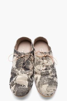 MARSÈLL Beige & Black Printed Canvas Oxfords