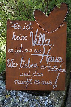 * Edelrost Tafel mit Herz It is not a villa . saying garden metal sign . * Edelrost Tafel mit Herz It is not a villa . saying garden metal sign text - Super Amazing Edelrost Tafel mit Her.