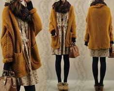 La mode Mori Girl 森 ガール - Ma passion d'Otaku - Girl Japanese, Japanese Fashion, Look Retro, Look Vintage, Mode Outfits, Winter Outfits, Fashion Outfits, Grunge Outfits, Fashion Styles