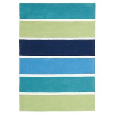 Blue and Green Banded Stripes Rug ($130) ❤ liked on Polyvore featuring home, children's room, children's decor and childrens rugs