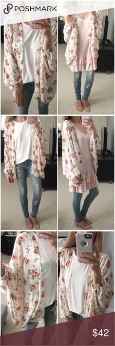 LAST ITEM▫️Ivory Floral Spring Kimono Jacket LET ME KNOW IF YOU'RE INTERESTED-MIGHT RESTOCK! The cutest. Ivory floral patterned lightweight kimono style jacket with elastic cuffs at wrist. Very very unique and absolutely beautiful in person. Perfect for Spring! Seen paired with ivory basic bamboo pocket tank and with blush bamboo ruffle tunic tank. Just love! Modeling small. True to size with an oversized fit. 98% polyester 2% Spandex. Made in USA. *Bundle 2+ items for a discount. Tops