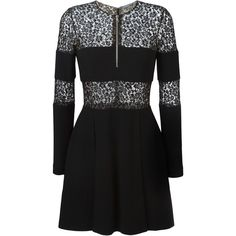 Alexander McQueen lace band mini dress ($1,015) ❤ liked on Polyvore featuring dresses, black, zip front mini dress, long sleeve mini dress, flared skirt, long sleeve dresses and short lace dress