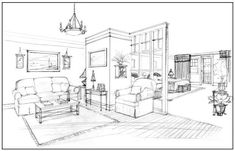 Interior Design Sketch  http://designmeetscomfort.com/2012/06/05/have-no-fear-the-interior-designer-is-here/