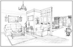 Interior Design Sketch  http://designmeetscomfort.com/2012/06/05/have-no-fear-the-interior-designer-is-here/