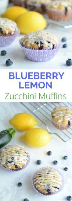 Zucchini Blueberry Muffins with Sweet Lemony Glaze - Zucchini rezepte Blueberry Zucchini Muffins, Lemon Zucchini Bread, Zucchini Muffin Recipes, Lemon Bread, Lemon Muffins, Healthy Muffins, Blue Berry Muffins, Healthy Breads, Healthy Snacks