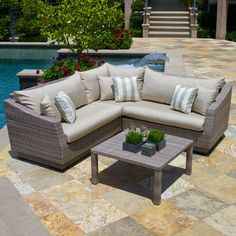 RST Outdoor Cannes Slate 4 Piece Corner Sectional | www.hayneedle.com