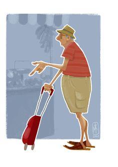 art, spot illustration, figure, old man, side, pointing, holding, hat //  krimanart https://www.facebook.com/CharacterDesignReferences