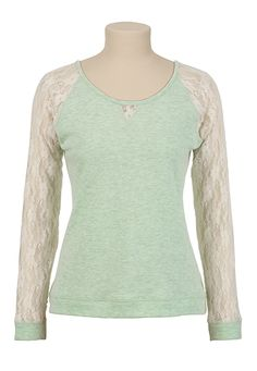 Lace Sleeve Tie Back Top available at #Maurices