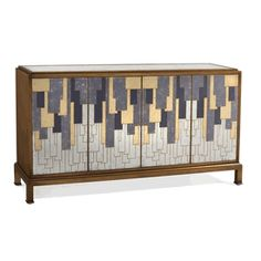 Limited Production Design & Stock: Grand Metropolis Art Deco Sideboard * Gold Silver Gray & Purple Reverse Painted Abstract Art Glass Front * Inc: 2 Double Cupboards With Shelving * 42 x 80 x 21 inches * Only Few Remaining