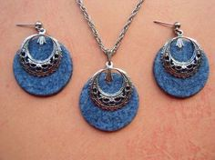 Denim Earring and Necklace Set