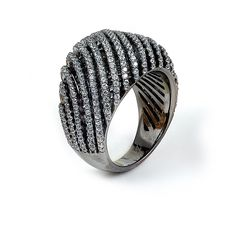 Sterling silver micro-pave Cubic Zirconia ring with black rhodium plating: Rings