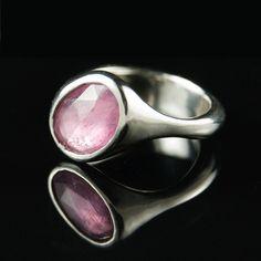 Rose Cut Pink Sapphire Ring Palladium OOAK size 7 by nodeform, $875.00