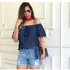Closet Lit: Blusa Ciganinha e Shorts Jeans