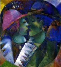 "Marc Chagall ""Green Lovers"", 1915 (Belarus / France, Cubism, 20th cent.)"