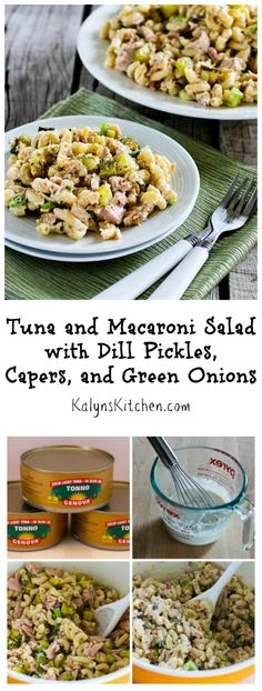 Tuna and Macaroni Salad gets kicked up with some flavorful additions in this recipe, and I promise this Tuna and Macaroni Salad with Dill Pickles, Capers, and Green Onions is not even the tiniest bit boring!  Tuna lovers will gobble this up if you take it to a summer holiday party of family get-together.  I use less pasta and more tuna and other ingredients for a lower-carb version of pasta salad.  [from KalynsKitchen.com]