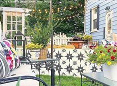 Backyard Stencils: Cheapest DIY Renovation Ideas with Floor Stencils – Royal Design Studio Stencils Large Stencils, Paint Stencils, Painting Concrete, Floor Painting, Outdoor Walls, Outdoor Paint, Outdoor Living, Porch Paint, Backyard Renovations