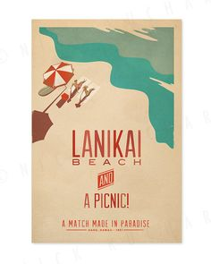 Lanikai Beach 12x18 Retro Hawaii Print by EverythingIsJake, $20.00
