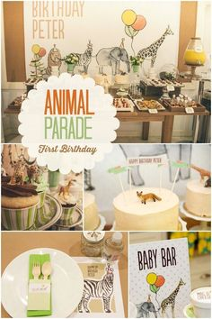 Need party inspiration? See precious watercolor details and an appetizing menu of sweet and savory dishes in this Boy's Animal Parade Birthday Party!