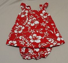 Hilo Hattie Hawaiian Floral Red Dress & Matching Panty Shorts Toddler Girl 2T #HiloHattier #Casual